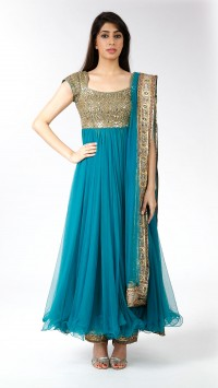 Peacock blue-green Anarkali