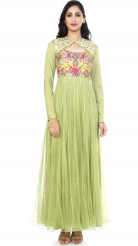 Green Embroidered Kalidar