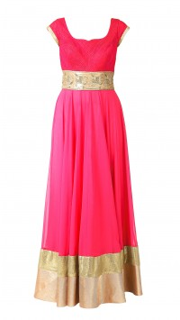 Cherry Red Anarkali with Embroidered Waist