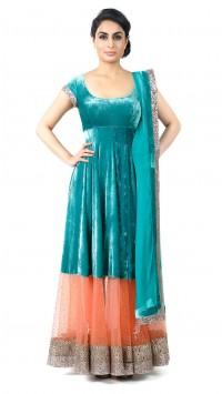 Green and Peach Velvet Anarkali