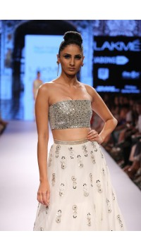 Ivory Mirror Embroidered Skirt and Choli