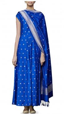 Blue Chanderi Anarkali