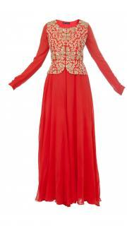 Red Jumpsuit with Embroidered Peplum Jacket